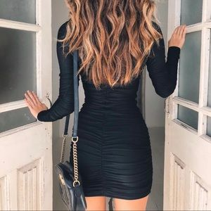 Havana mini dress ruched high neck long sleeve